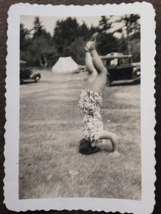 photo of my mother, as a young teen, doing a headstand