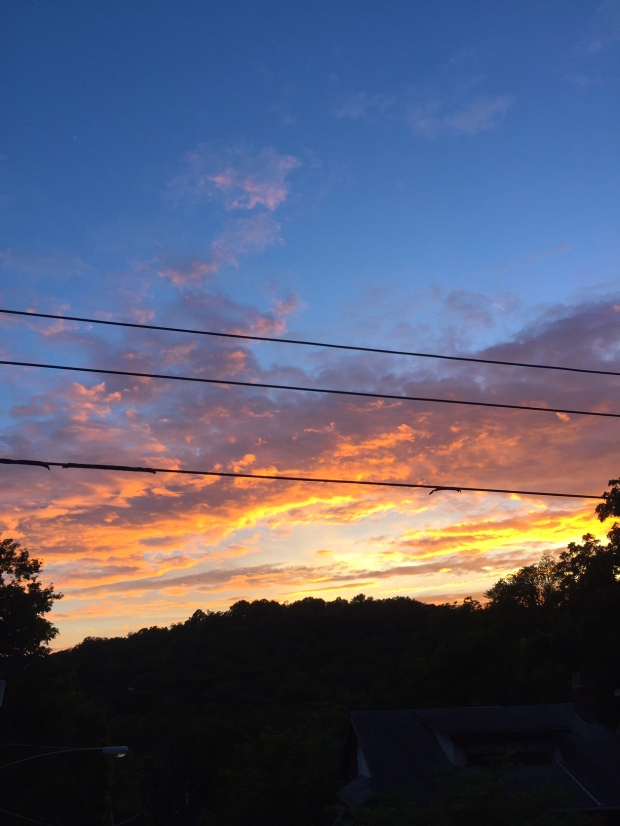 sunset and electrical wires