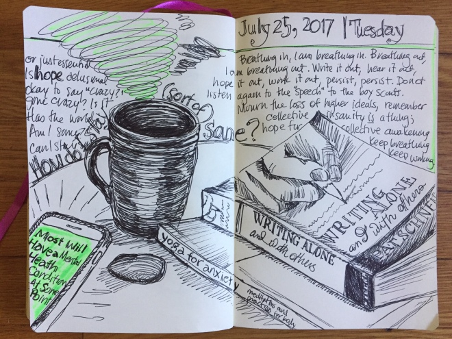 a sketch of a coffee cup, books, worry stone and iphone