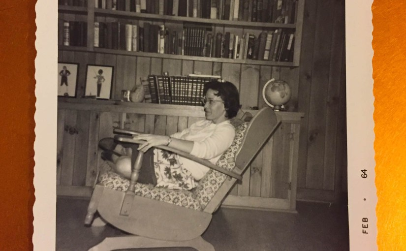 photo of white woman in chair. 1960s.