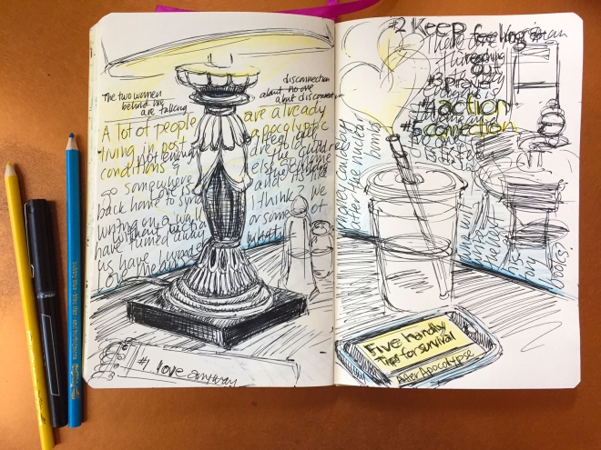 sketch in journal of lamp, coffee shop, phone