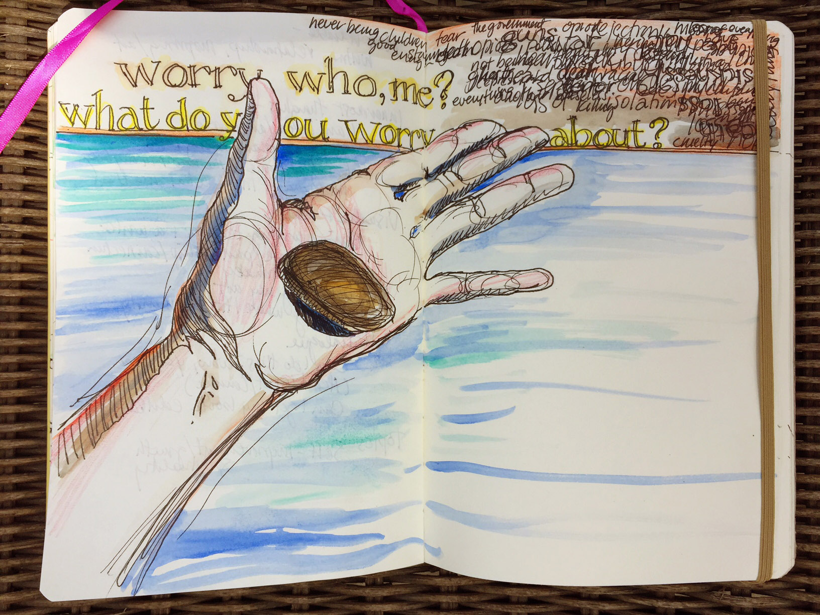 drawing of a hand with a worry stone