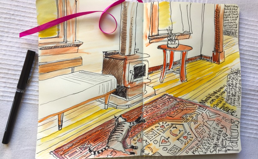 drawing in a journal depicting a living room with a cat on a rug