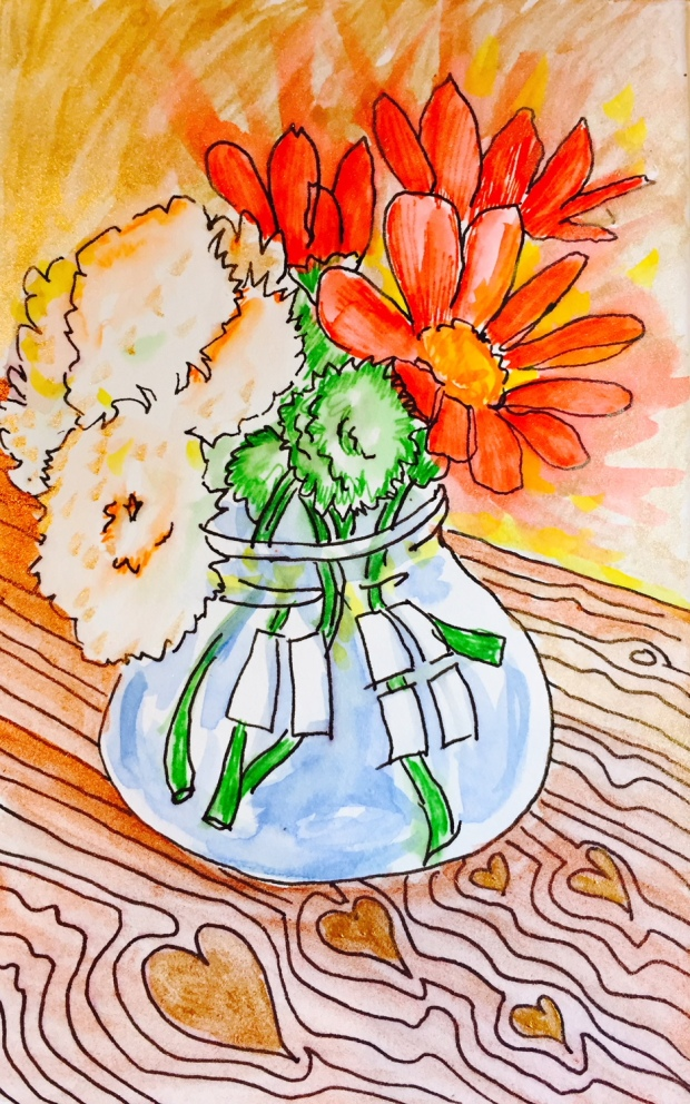 painting of flowers in vase with hearts on the table